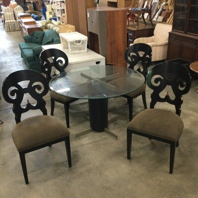 Glass-Top Dining Room/Kitchen Table & Chairs Set