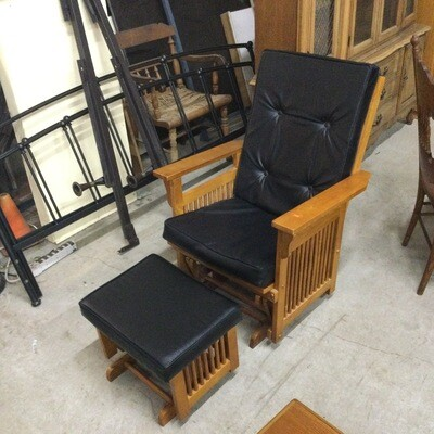 Mission-Style Leather Glider w/ Ottoman