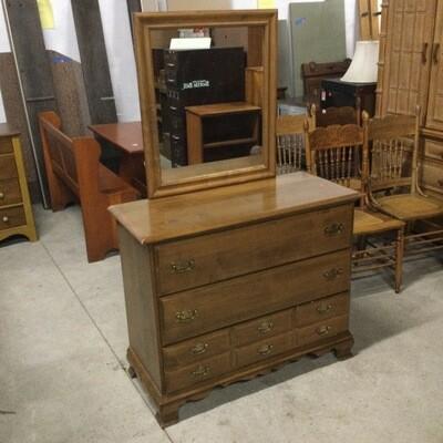 3 Drawer Maple Dresser w/ Mirror