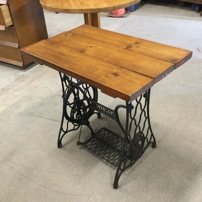 Custom-Built Table w/ Singer Cast Iron Treadle Base