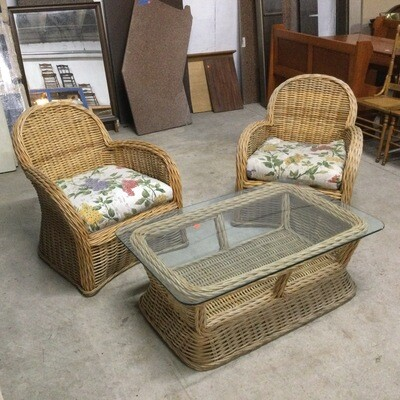Sturdy Wicker Glass-Top Coffee Table & 2 Chairs Set