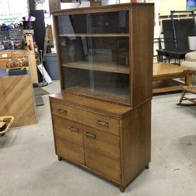 Solid Oak Bar Cabinet