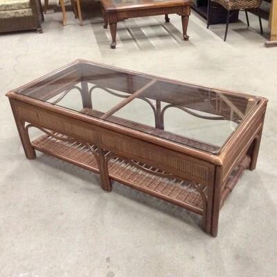 Glass-Top Rattan-Frame Coffee Table