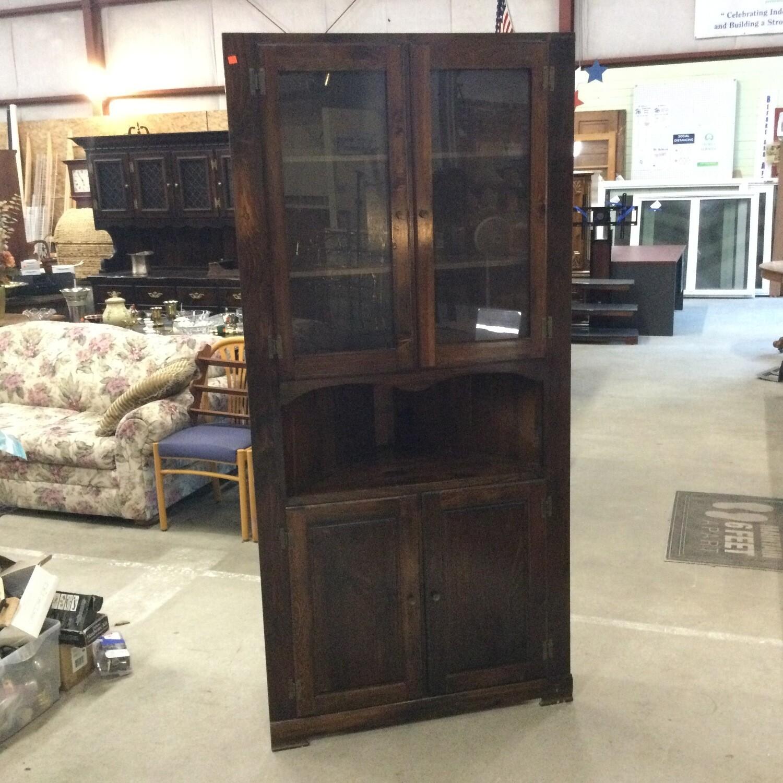 Dark Finish Pine Corner Cabinet