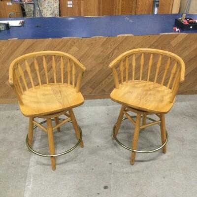 Pair of Solid Wood Swivel Bar Stools