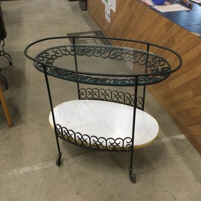 Wrought-Iron Glass-Top Rolling Serving Cart