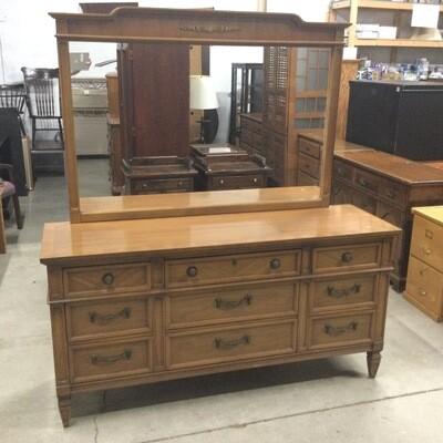 9 Drawer Solid Wood Bureau with Mirror