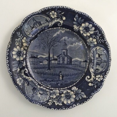 Winter View Of Pittsfield Mass Antique Stafordshire Plate