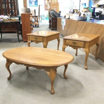 Oak Coffee Table & Pair of End Tables Set