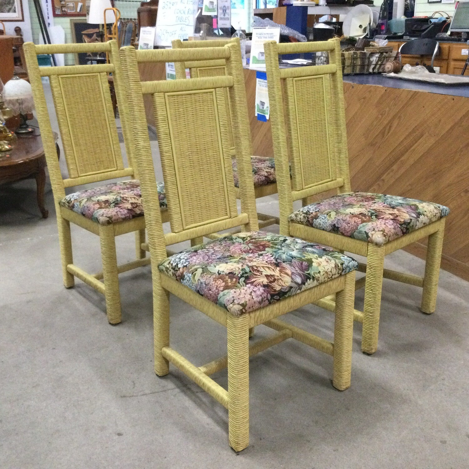 Set of 4 Heavy Wicker Cushioned Seat Chairs