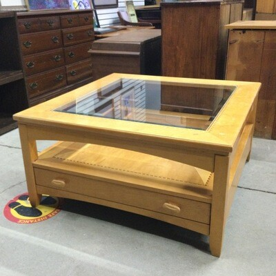 Solid Wood Frame/Glass-Top Coffee Table by Schnadig Furniture