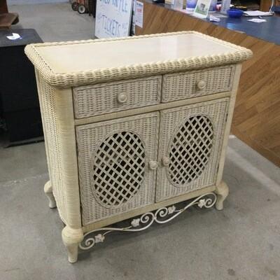 Wicker & Wood 2 Drawer Storage Cabinet