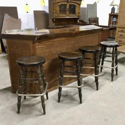 Solid Wood Bar w/ Four Bar Stools