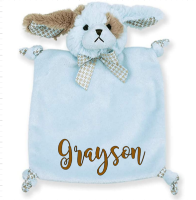 Blue Puppy or Bear Personalized Security Blanket