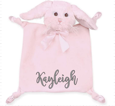 Pink Bunny or Bear Personalized Security Blanket