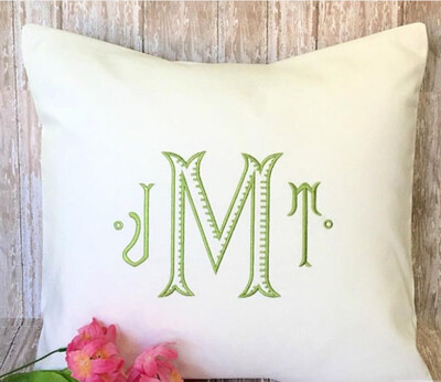 Ribbed Monogram Embroidery Pillow Cover