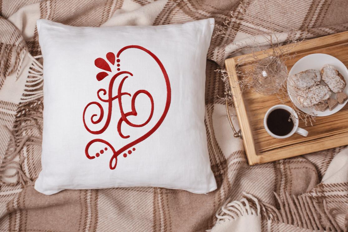 Monogrammed Alphabet Heart Pillow