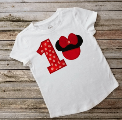 Girl's Minnie Mouse Applique Birthday Shirt