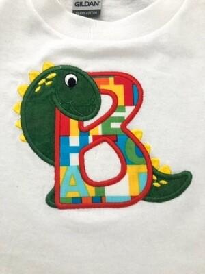 Child's Applique Dino Alphabet T Shirt