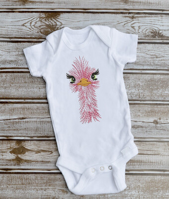 Baby Girl Bodysuit with Female Osterich