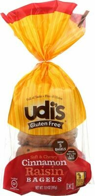 Udis Cinnamon Raisin Bagel 13.9 Oz