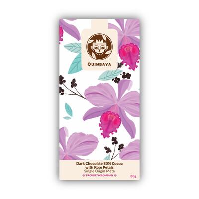 Schokolade 80% Kakao mit Rosenblätter