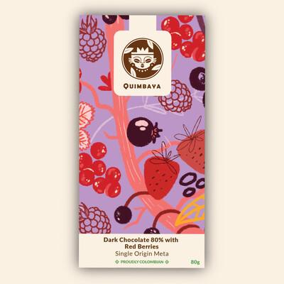 Schokolade 80% Kakao mit Waldbeeren