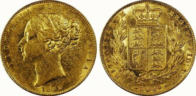 1842 Victoria Shield Sovereign