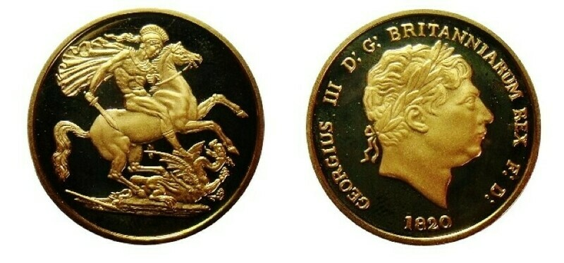 1820 George III Two Pounds 22ct Gold re-strike.