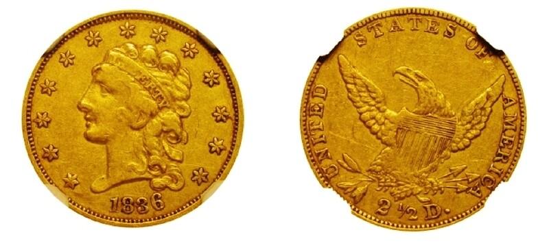 1836 Gold $2.5 Dollars
