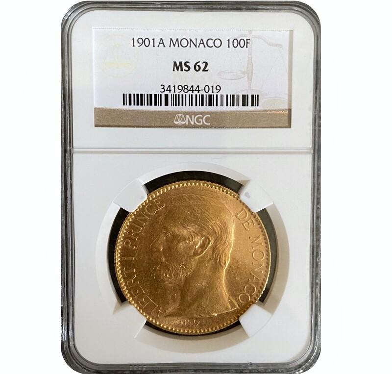 1901A Albert I Monaco gold 100 francs
