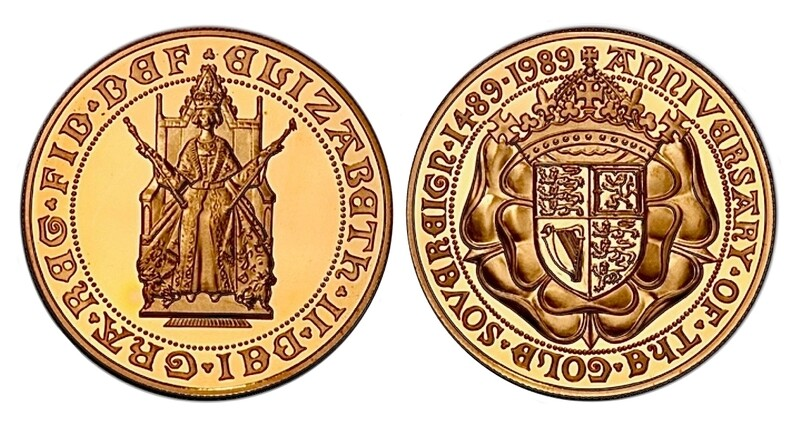 1989 500th Anniversary gold proof Five Pounds