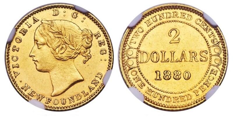 1880 Canada Newfoundland Gold 2 Dollars