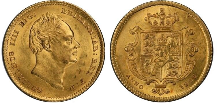 1835 William IV 1/2 sovereign
