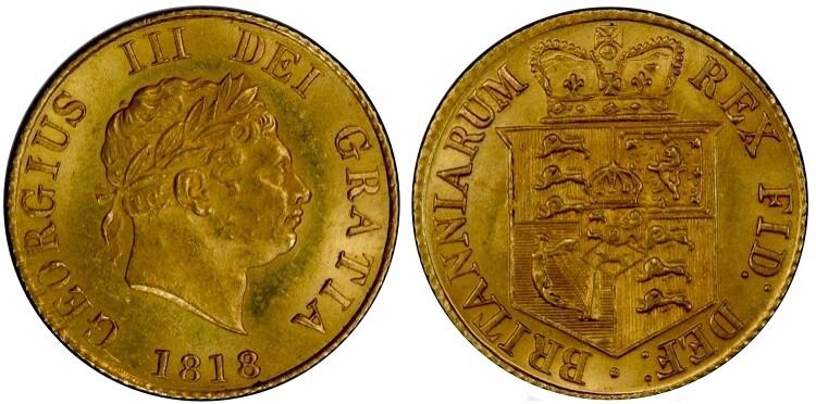 1818 George IV 1/2 sovereign.