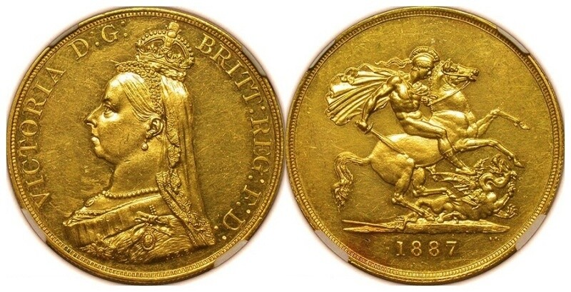 1887 Jubilee Gold Five Pounds