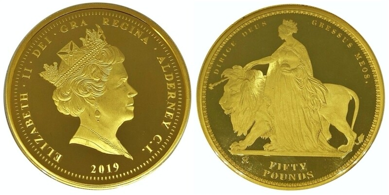 Alderney 2019 Queen Victoria 200th Anniversary Una & the Lion Gold Proof Fifty Pounds