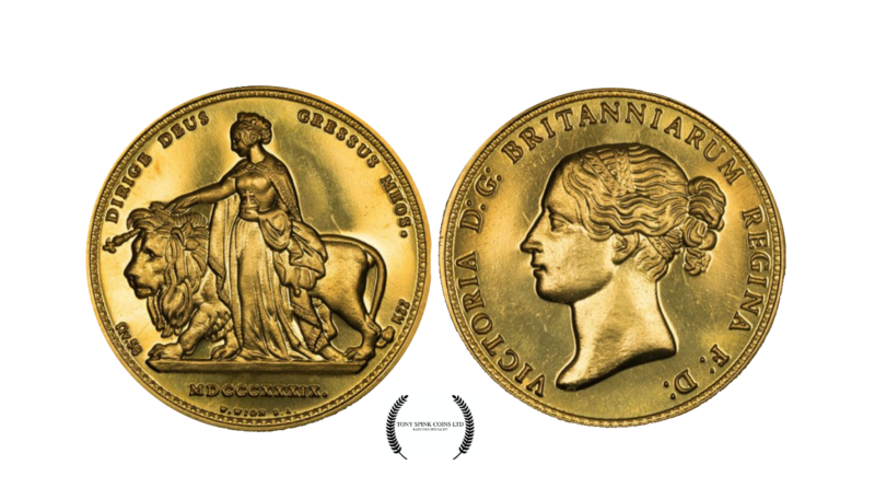 1839 Queen Victoria 200th Anniversary Una and the Lion Gold Proof Five Pounds.