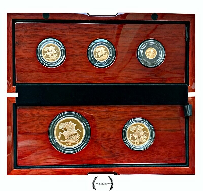 2021 5 Coin Premium Gold Proof Sovereign Set