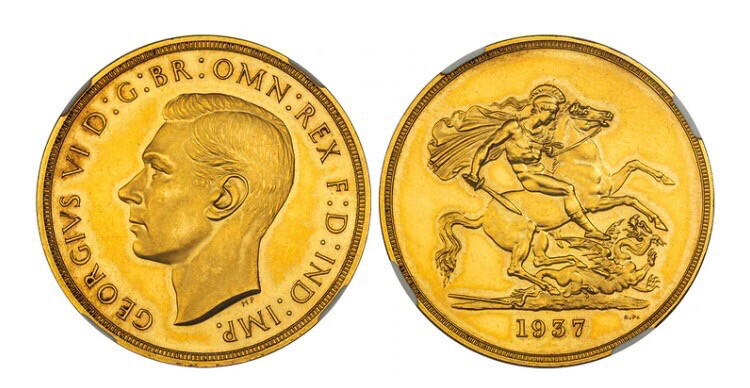 1937 George VI Gold Proof Five Pounds