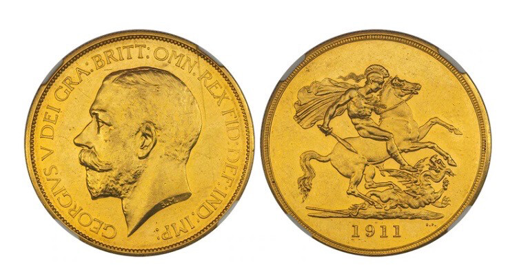 1911 George V Gold Proof Five Pounds