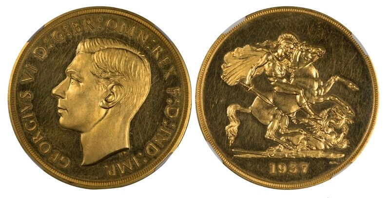 1937 George IV Gold Proof Five pounds