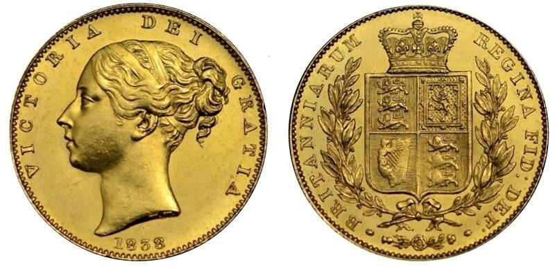 1838 Victoria Shield Sovereign