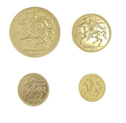 1973 Isle of Man Gold Four Coin Set