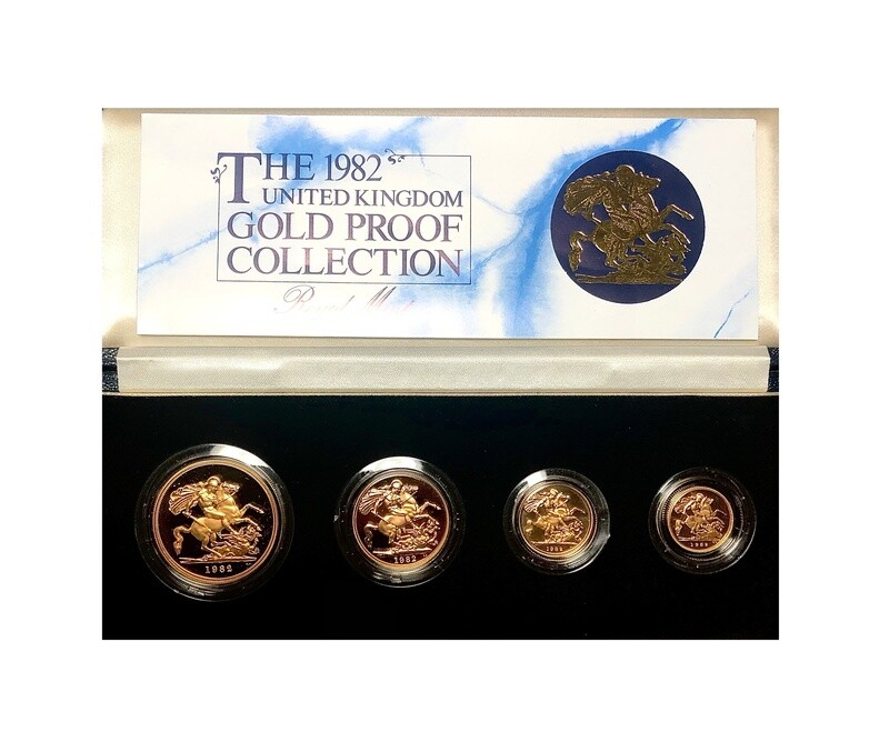 1982 Elizabeth II Gold Proof four coin Sovereign set