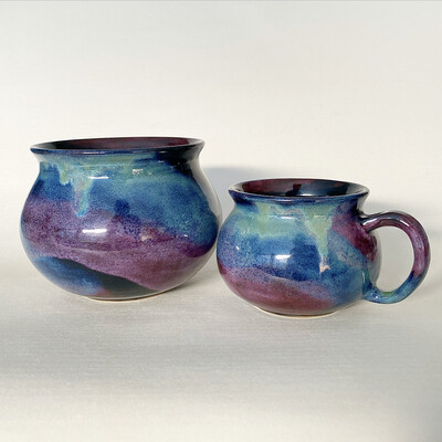 Northern Lights mug and vase set