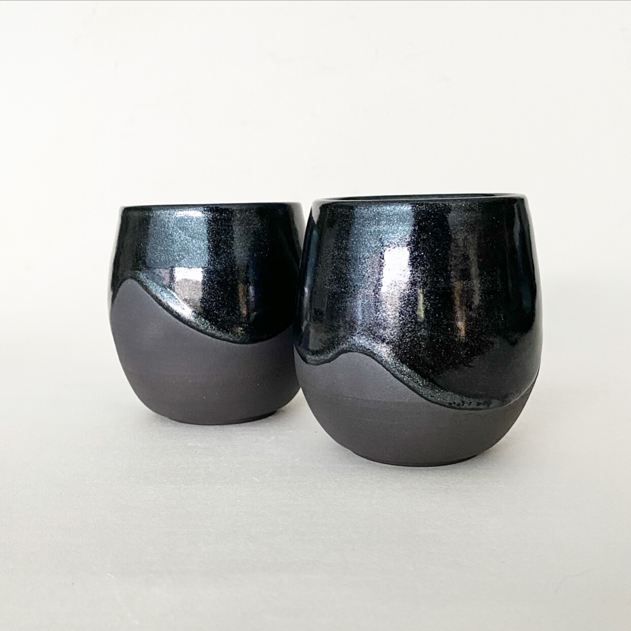 Set of 2 Glitterati black clay Tumblers