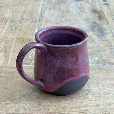 12oz Pink, black clay Mug