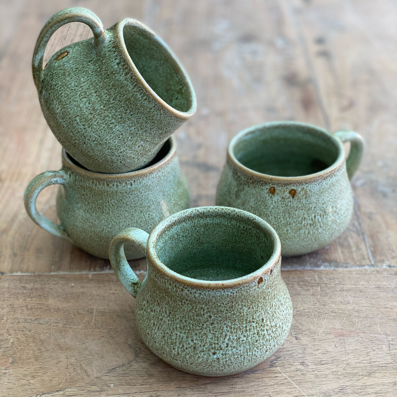 Set Of 4 11oz Green/Brown Mugs 2