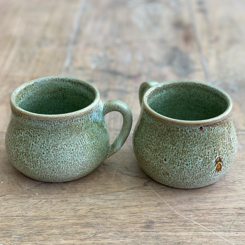 Set Of 2 11oz Green/Brown Mugs